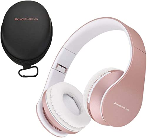 PowerLocus Wireless Bluetooth Over-Ear Stereo Foldable Headphones, Wired Headsets with Built-in Microphone for iPhone, Samsung, LG, iPad Rose Gold