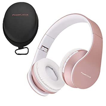 Buy Powerlocus Wireless Bluetooth Over Ear Stereo Foldable Headphones Wired Headsets With Built In Microphone For Iphone Samsung Lg Ipad Rose Gold Online At Low Prices In India Amazon In