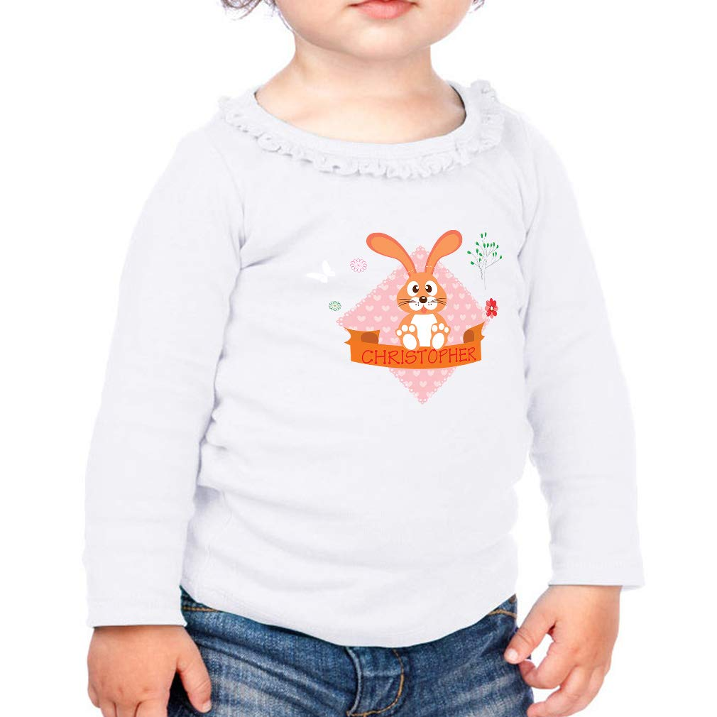 Personalized Custom Brown Bunny Cotton Toddler Long Sleeve Ruffle Shirt Top