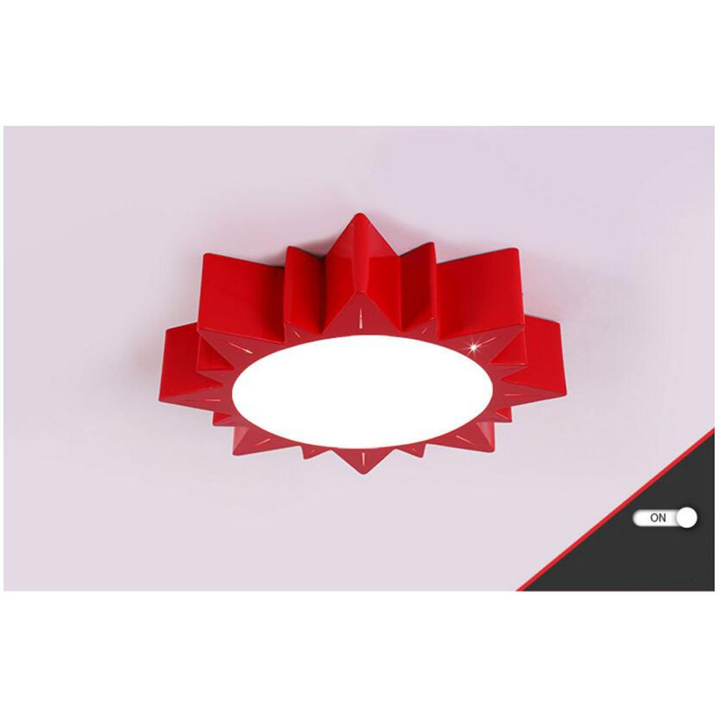 Ceiling light Children's room modern Cartoon sun boy girl room Early education nursery bedroom ( Color : Red , Size : C(with remote control) )