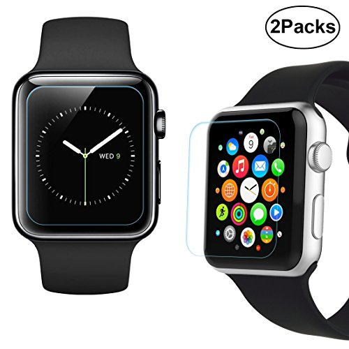 Case I&t New - 38mm Apple Watch Screen Protector - iXCC 0.3mm [2 Pack] Tempered Glass Screen Protector, Anti-bubbles, Scratch Resistant [Only Covers the Flat Area]