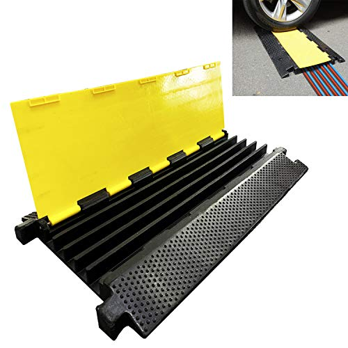 - Reliancer 5 Channel Rubber Cable Protector Ramp Traffic Speed Bump 18000lbs Capacity Heavy Duty Cable Protective Cover Ramp Driveway Hose Cord Track Protector Wires Concealer w/Flip-Open Top Cover