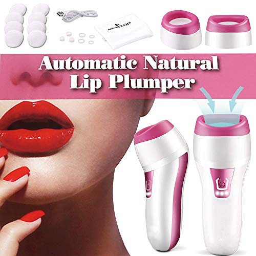 Electric Lips Plumper,Automatic Lip Plumping Tool 3 Min Fastly Fuller Lips Changeable Oval & Round Lip Plumps Devices - Kisses Balm Lip Candy