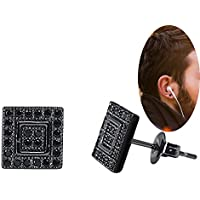 """BALA Black Square Stud Earring """"18k"""" for Men Gold Plated Small 8mm,CZ Inalid"""