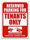Honey Dew Gifts Reserved Parking Signs, Reserved Parking for Tenants Only 9 inch by 12 inch Metal Aluminum Parking Lot Tin Sign