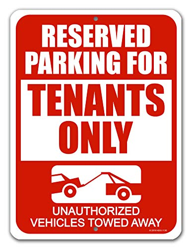 Honey Dew Gifts Reserved Parking Signs, Reserved Parking for Tenants Only 9 inch by 12 inch Metal Aluminum Parking Lot Tin Sign ()