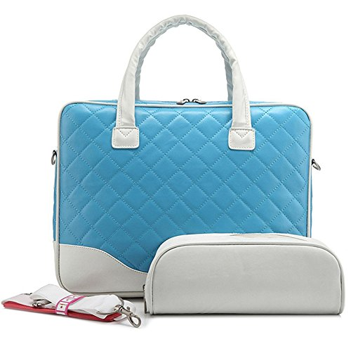 BRINCH(TM)14.1inch Diamond Quilted Pattern Bubble Foam Padded Laptop Computer Notebook Sleeve Tote Briefcase Carry Case Messenger Shoulder Bag For Macbook Air/Pro 13.3 inch Hp Dell Sony (Blue)