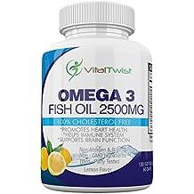 VitalTwist Omega 3 Fish Oil, 120 Lemon Softgels, Serving (Omega 3 2500mg, EPA 960mg, DHA 720mg), Dietary Supplement, Supports Heart Health, Brain Development, Healthy Joints, Non-GMO, Gluten-Free
