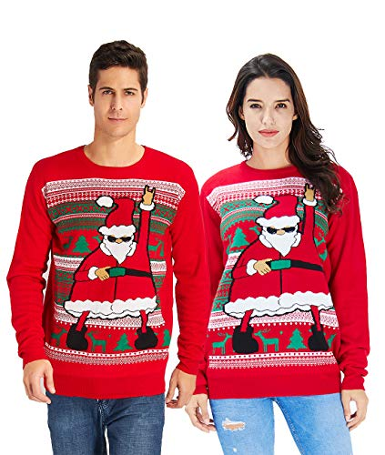 Idgreatim Mens Ugly Christmas Sweater Dace Santa Claus Long Sleeve Knitted Sweater Sweatshirt for Christmas Red XL