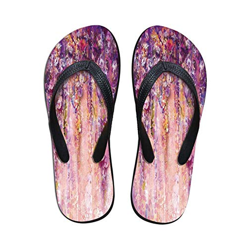Watercolor Flower Non Slip Flip Flops,Wisteria Tree in Full Blossom Romantic Spring Over Bokeh Background for Shower Spa Party,US Size 9