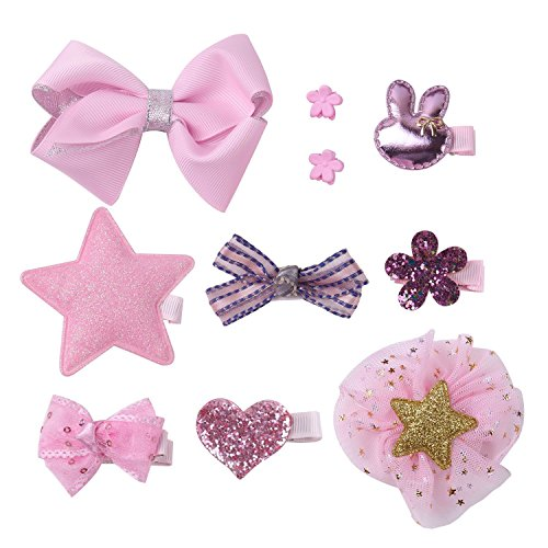 KOONY Baby Girls Hair Bow Hair Clip Barrettes Alligator Clips Hair Accessories (Pink Mix)