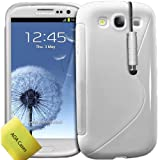 TPU Silicone Gel S-Series Onde Etui Coque Housse Pour Samsung Galaxy S3 III i9300 + Stylet + Protecteur d'écran AOA CasesTM (Blanc)