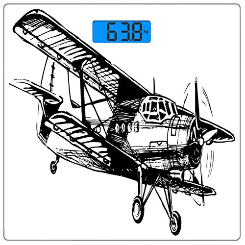 Airplane Scale Drawings - Precision Digital Body Weight Scale Vintage Airplane Decor Ultra Slim Tempered Glass Bathroom Scale Accurate Weight Measurements,Drawing of Monoplane Sketchy Stylized Ancient Monochrome Design,Black a