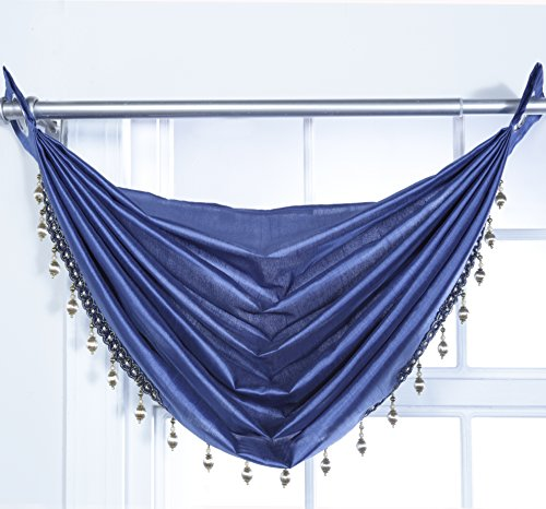 Stylemaster Home Products Rivington Faux Silk Waterfall Valance with Beaded Trim, 36 by 37-Inch, Cobalt