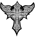 13.0 inches x 13.0 inches Large Size Cross Christian Jesus Angel Wings Feather Celtic Lady Rider Biker Tattoo Jacket T-Shirt Back Patch Iron on Applique Embroidered Sign Badge Costume