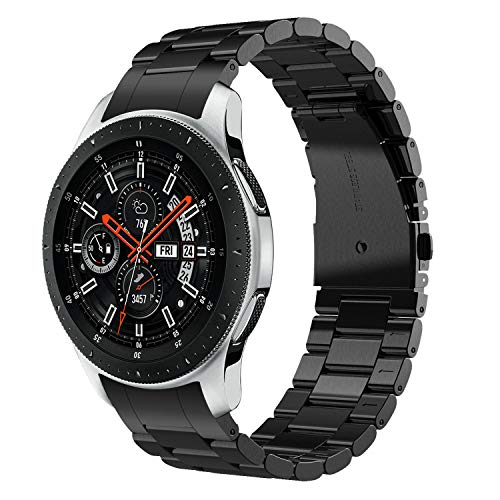 V-MORO Metal Black Strap Compatible with Galaxy Watch 46mm Bands/Gear S3 Frontier Band with Clips No Gaps Solid Stainless Steel Bracelet for Samsung Galaxy Watch 46mm R800/Gear S3 Smartwatch
