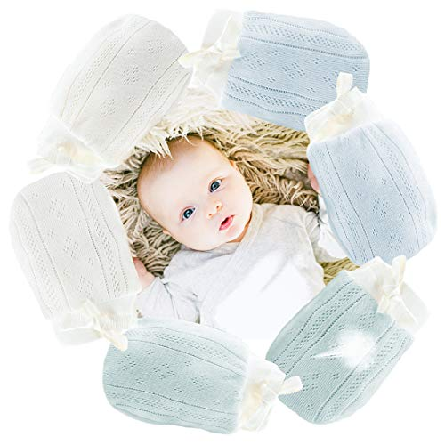 Kalevel 3 Pairs Baby Mittens Newborn No Scratch Organic Cotton Infant Gloves with String for Baby Boy 6-12 Months (Boy Set)