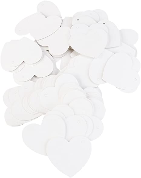 100 Heart Shape Blank Paper Gift Tags White Label Luggage Wedding Strings