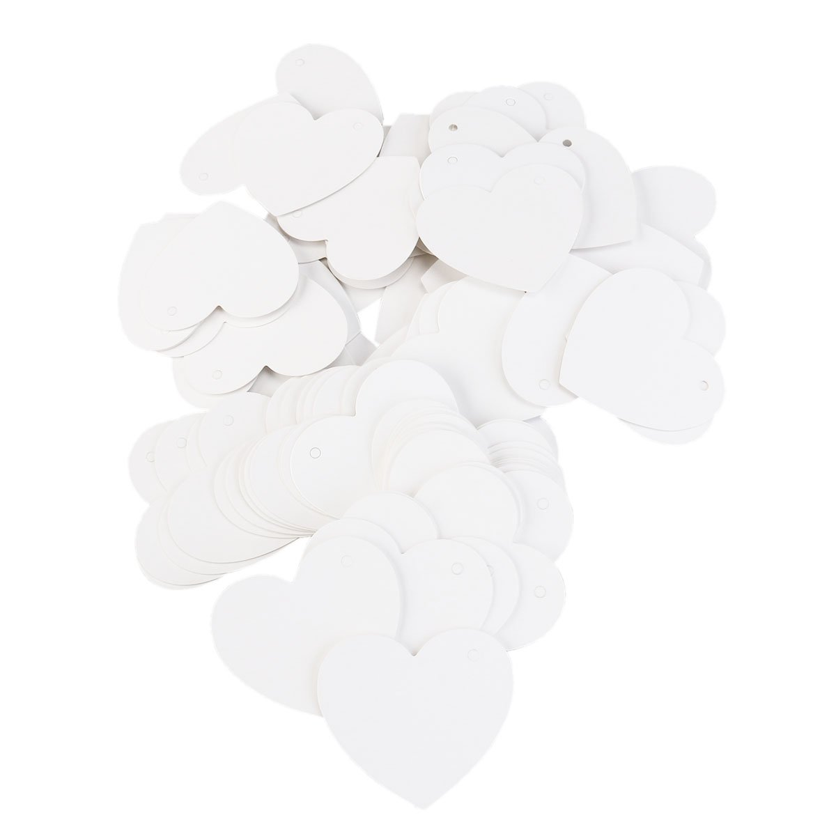 Tinksky 100pcs Heart Shaped Paper Card Valentines / Wedding/ Wish Tree Tags , Wedding Favors (White)