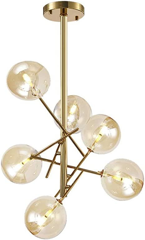 Dellemade Xd00936 Sputnik Chandelier 6 Light Ceiling Light Globe Pendant Lamp For Bedroom Living Room Dining Room Brass Gold