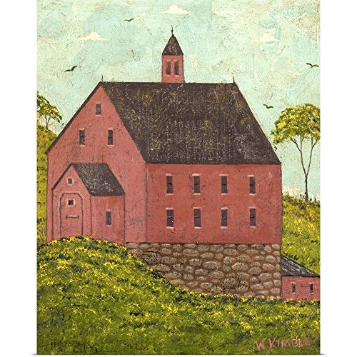 GREATBIGCANVAS Poster Print Entitled Red Barn by Warren Kimble 19