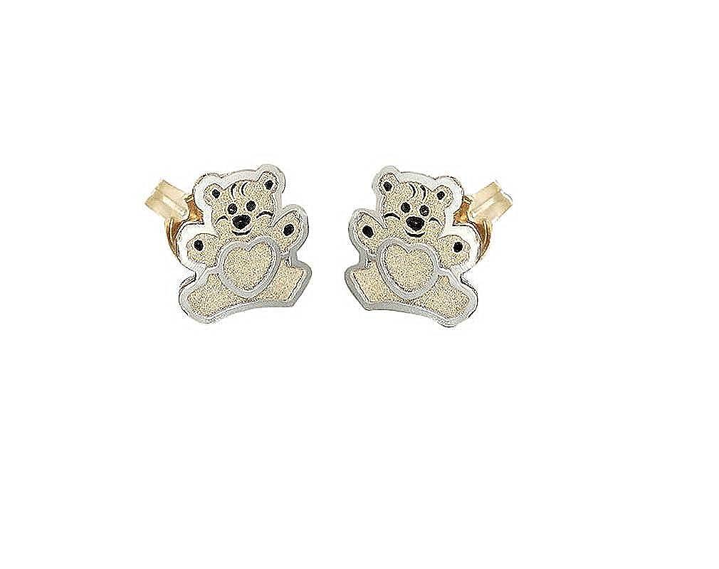 Kinder Ohrstecker Gold 585 Ohrringe Mädchen Herz Blume Schmetterling Teddy