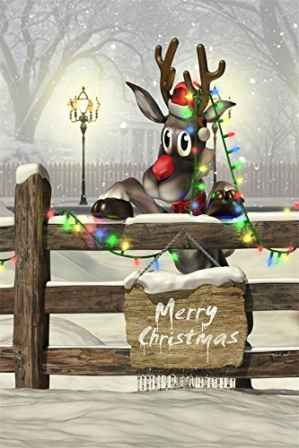 Fence Tropical Decor (OFILA Vinyl 3x5ft Photography Christmas Backdrop Lovely Reindeer Colored Lights Decors Wood Fence Winter Snow Children Baby Kids Portraits Video Studio Props)