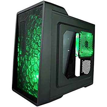 APEVIA X-ENERQ-GN Micro ATX /Mini ATX Gaming/HTPC Case, Supports Video Card up to 290mm/ATX PS, 1 x Window, USB3.0/USB2.0/HD Audio/SD/Micro SD Ports, 2 x 120mm Green LED fans, Dust Filter – Green