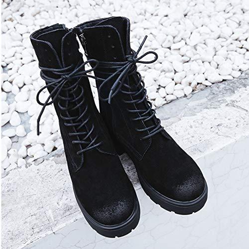 Para Negro Arriba Ate Cabeza Botas De Tacón Redonda Invierno Femenina Moda 1TU0xOqv