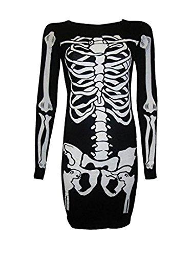 [Ladies Women Halloween Skeleton Skull Bones Print Bodycon Tunic Dress Costume] (Female Bodysuit Costumes)