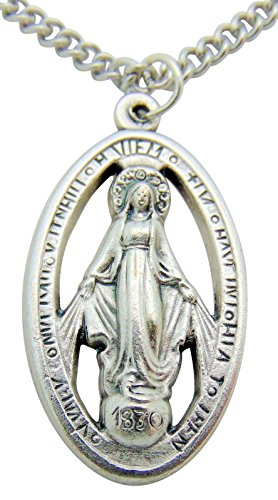 Miraculous Mary Medal 1 1/4 Inch Metal Medallion Pendant with Chain