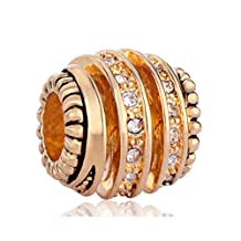 Spiral Solid Charm Clear White Crystal Gold Plated Beads Fit Pandora Bracelets
