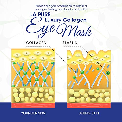 51q1Cw0EkGL - LA PURE Luxury Collagen Eye Mask - Under Eye Patches with Hyaluronic Acid, Dark Circles Under Eye Treatment, Under Eye Bags Treatment, Eye Mask for Puffy Eyes, Undereye Dark Circles, Pads (15 Pairs)