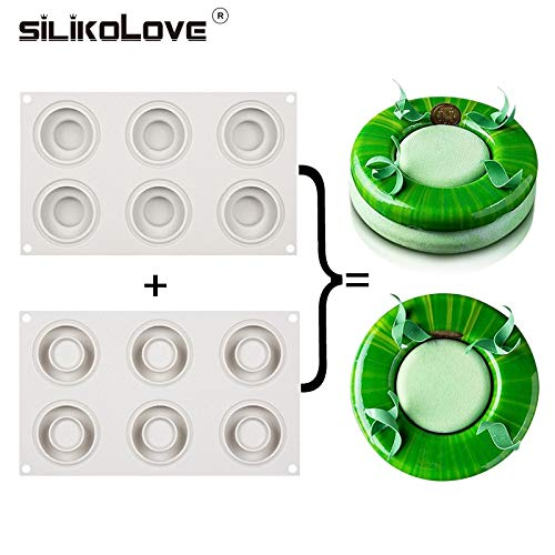 SILIKOLOVE Silicone Molds 6 Cavity Mousse Molds Oven Safe Hollow Donut Shaped For Baking Dish Cake Tools Bakeware Dessert Moulds