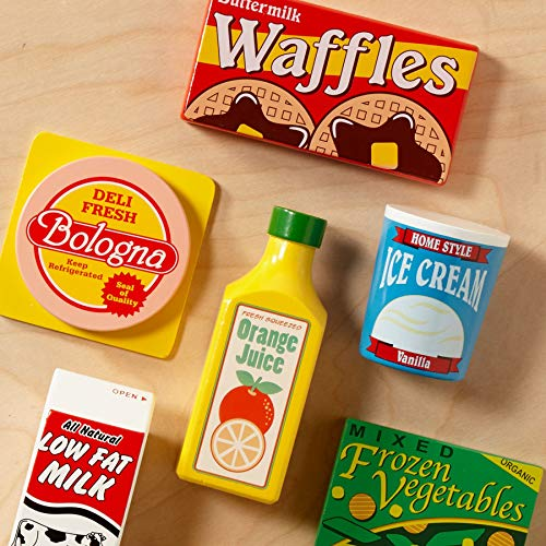 "Melissa & Doug Fridge Food Wooden Play Food Set, Pretend Play, Hand-Painted Wood, Sturdy Construction, 9 Pieces, 10.5"" H x 13"" W x 2.75"" L"