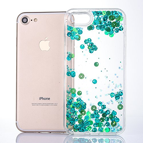 iPhone 6S Plus Case [With Free Tempered Glass Screen Protector],Mo-Beauty® Colorful Flowing Liquid Floating Flowing Bling Shiny Sparkle Glitter Crystal Clear Protective Shell Case Cover For Apple iPho Green
