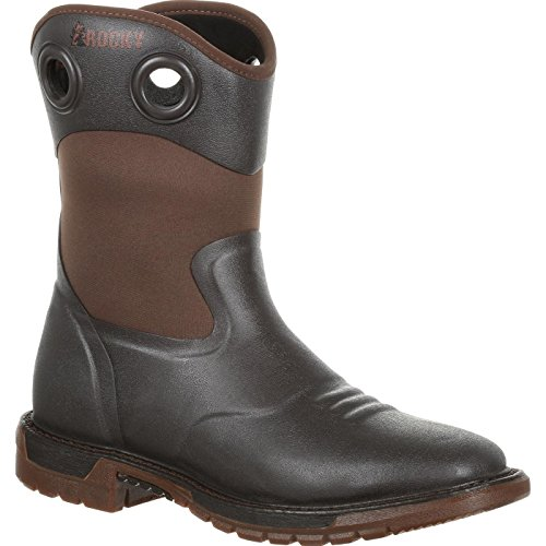 Rocky Men's Waterproof Original Ride FLX Western Work Boot Square Toe Dark Brown 10.5 -