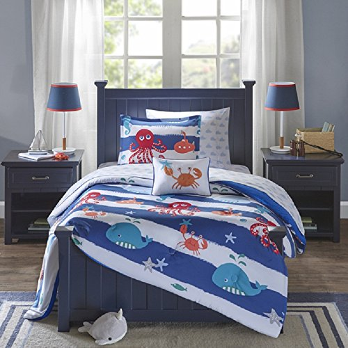 8-Piece-Kids-Blue-Under-Water-Fishy-Theme-Comforter-with-Sheet-Full-Set-Fun-Sea-Life-Star-Fish-Bedding-All-Over-Fishes-Blue-Whale-Sea-Horses-Octopus-Crab-Horizontal-Aqua-Stripe-Wave-Pattern