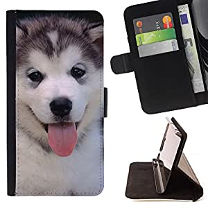For Samsung Galaxy S4 Mini i9190 Husky Siberian Dog Cute Puppy Leather Foilo Wallet Cover Case with Magnetic Closure