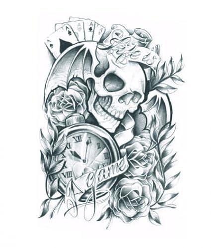 Hierba (Sunshine Halloween Tattoo para adultos schrecklich cráneo con rosas y reloj realista y falso