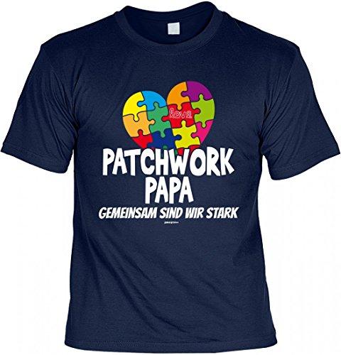 T-Shirt Vater - Patchwork Papa gemeinsam stark - Puzzle - Geschenk Idee mit Humor zum Vatertag Geburtstag - navyblau