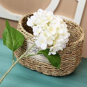 YSBER 3 Big Heads Artificial Hydrangea Silk Fake Flowers Bunch Bouquet Home Hotel Wedding Party Centerpieces Garden Floral Decor(White) 4