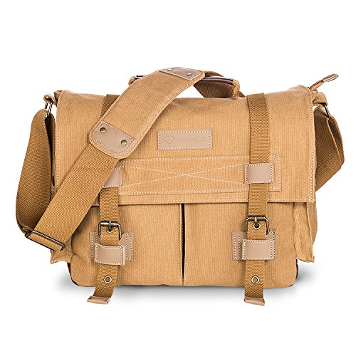 DSLR SLR Camera Bag,MOACC Canvas Vintage Camera Messenger Bag Shoulder Bag with Shockproof Insert(BBK2-Small)