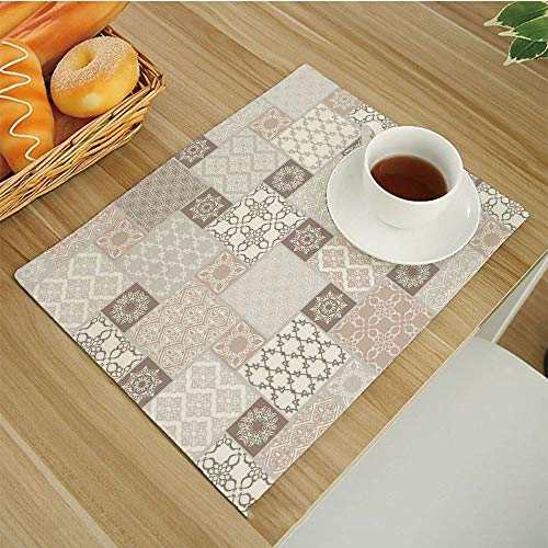 Patchwork Mat Pastel - Set of 6 Non-Slip Insulation Placemats for Dining Table,Kitchen Place Mats Coffee Mats Heat-Resistant Jacquard Table Mats,Arabian-Decor Oriental Motif Pastel Patchwork Pattern with Filigree Ornaments