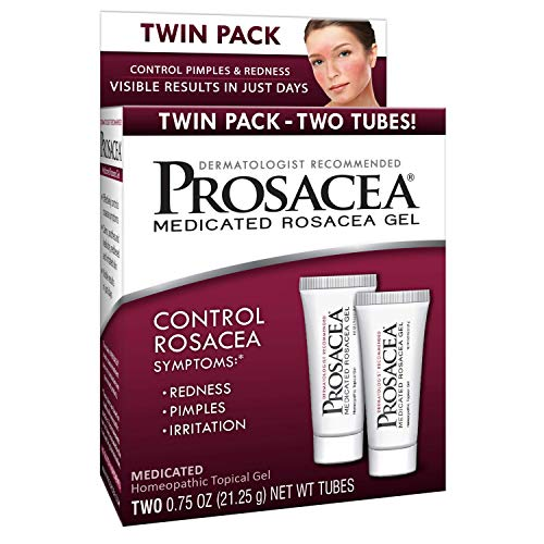 Prosacea Medicated Rosacea Gel - Controls Rosacea Symptoms of Redness, Pimples  Irritation - Twin Pack - Two 0.75oz Tubes (1.5oz Total)