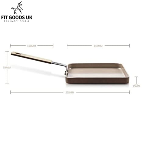 Antiadherente sartén de parrilla de forma cuadrada cobre por Fit mercancías | champán oro | 20