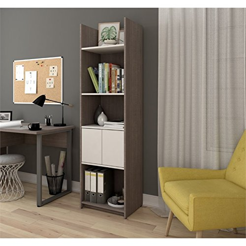 Bestar Small Space 20'' Storage Tower in Bark Gray and White