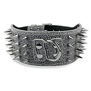 """Beirui 3"""" Width Sharp Spiked PU Leather Dog Collars Grey 21-24"""" for Pitbull Boxer Large Breeds"""