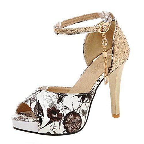 COOLCEPT Mujer Moda Correa de Tobillo Sandalias Tacon de Aguja Peep Toe Zapatos Black