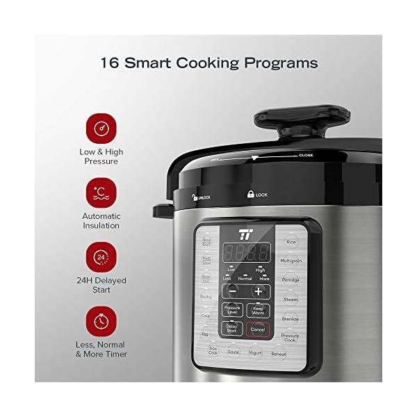 TaoTronics TT-EE007 Electric Pressure Cookbook 8QT, 10-in-1 Multi-Use, 16 Programs, Slow, Rice Cooker, Steamer, Sauté… 3
